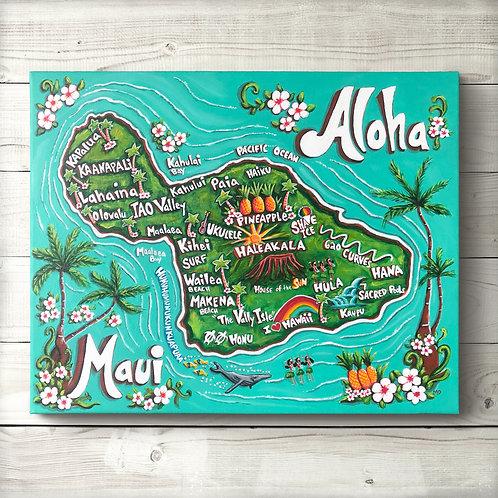 Maui Map Canvas Print