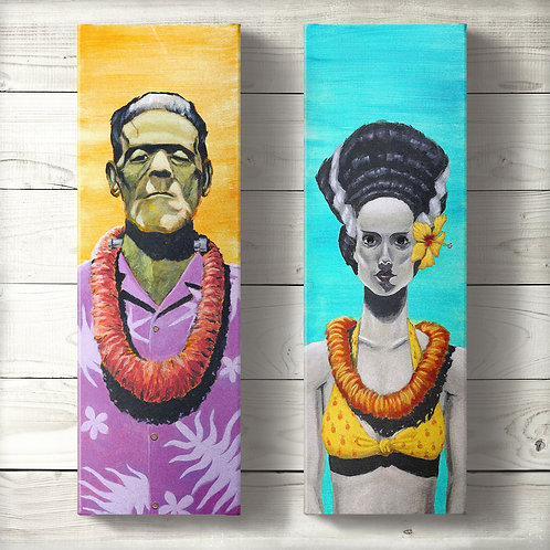 Frankenstein and the Bride Canvas Prints