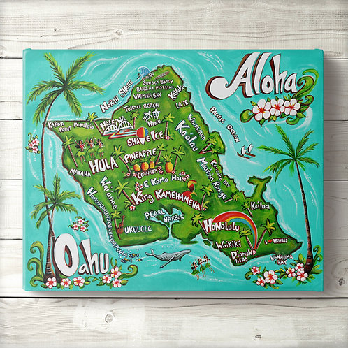 Oahu Map Canvas Print
