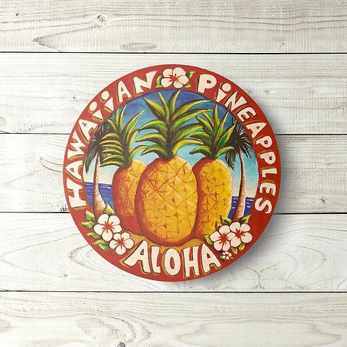 Hawaiian Pineapples Circle Sign