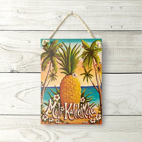 5x7 Mele Kalikimaka Pineapple Sign