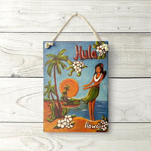 5x7 Vintage Hula Sign