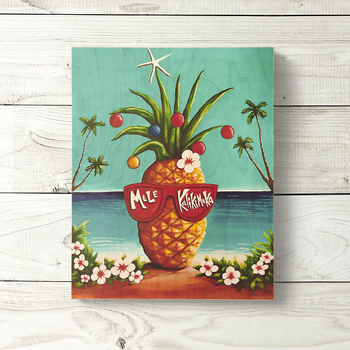 8x10 Mele Kalikimaka Pineapple