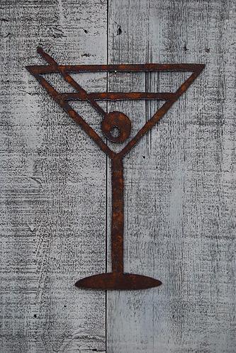 Martini Glass Rusty Metal Wall Hanging