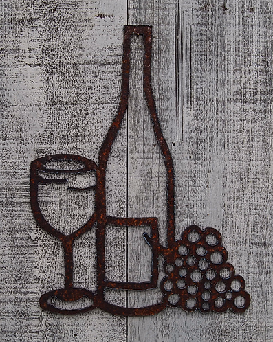 Wine, Glass, Grapes Rusty Metal Wall Hanging