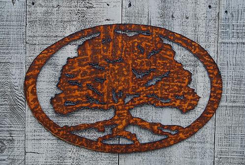 Oak Tree Rusty Metal Wall Hanging
