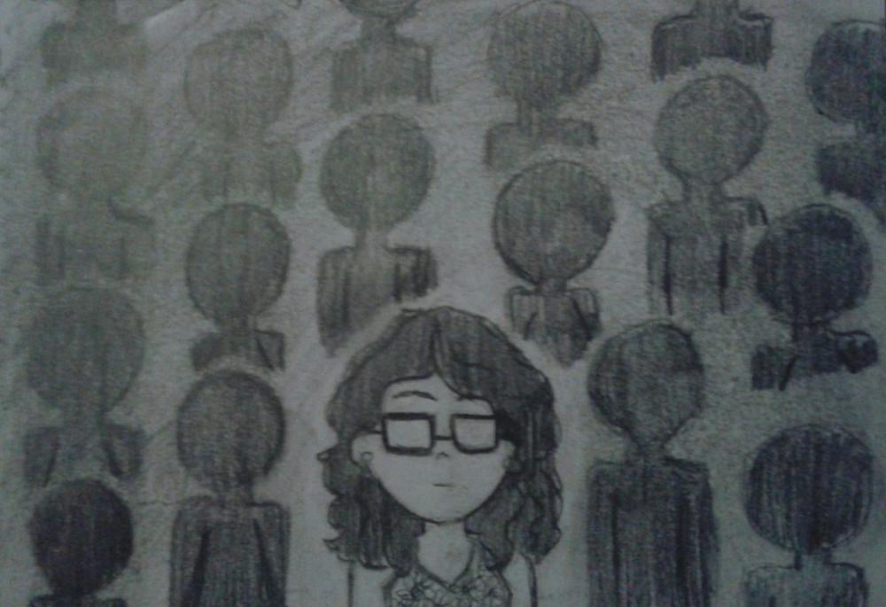 ציור של ילדה במשקפיים וברקע דמויות שחורות