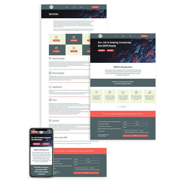 אתר לחברה עסקית בתחום ה-gdpr