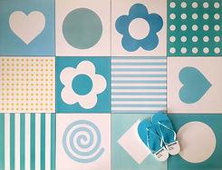 סקיצה - אריחי ריצוף בכחולים וטורקיז לחדרי רחצה ושירותי אורחים