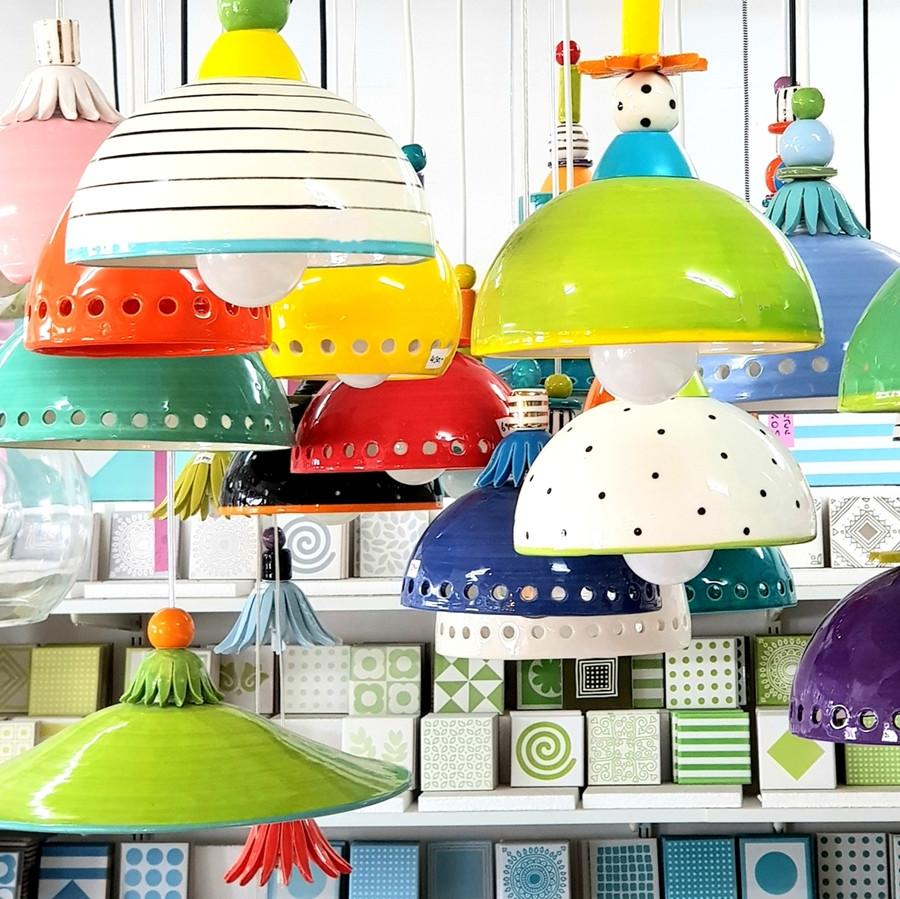 מנורות צבעוניות מקרמיקה עבודת יד