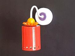 """דגם 11 - גוף תאורה גלילי מקרמיקה אדומה - קוטר 9 ס""""מ - 570 ש""""ח"""