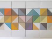 משחק במשולשים צבעונים עבור קיר במטבח