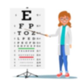 איור של בדיקת עיניים לילדים