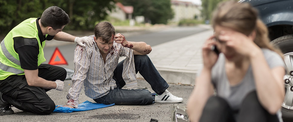 distressed people after accident