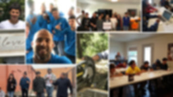 A collage of pictures of Jail To Jobs youth and staff