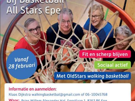 Walking Basketball start elke vrijdag 10.00 in pwa hal Epe