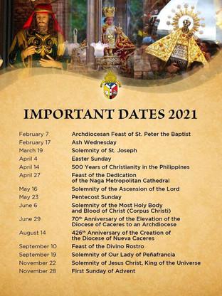 2021 Important Dates
