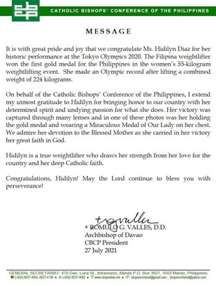 Thank you for praying:' Hidilyn Diaz reveals story behind 'miraculous medal'