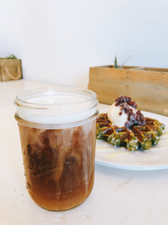 Cold Brew & Matcha Waffle