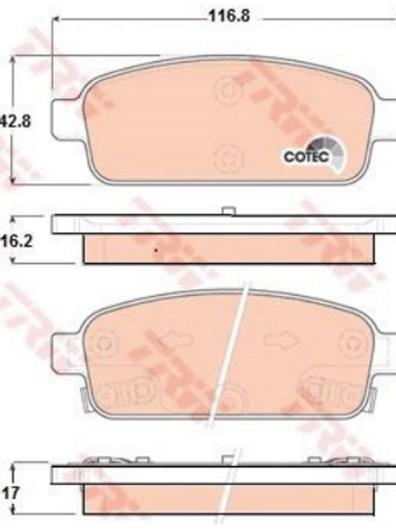 Rear Brake Pads Set - Vauxhall Astra, Zafira, Chevrolet Cruze, Trax, Orlando