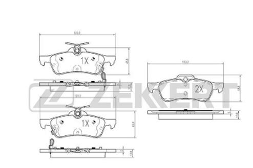 Rear Brake Pads Set - Toyota Yaris, Daihatsu Charade.