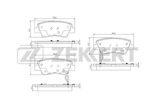 Rear Brake Pads - Hyundai. KIA, Ssangyong.