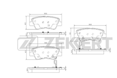 Rear Brake Pads Set - Hyundai, Kia, Ssangyoung