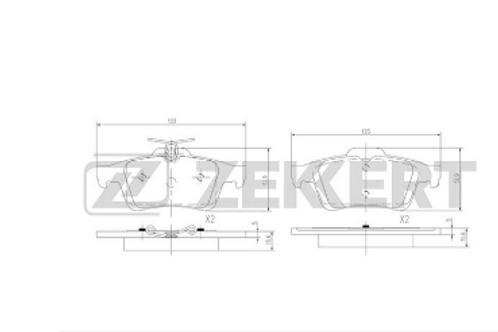 Rear Brake Pads set -Jaguar, Citroen, Mazda, Peugeot, Ford, Volvo, Saab.