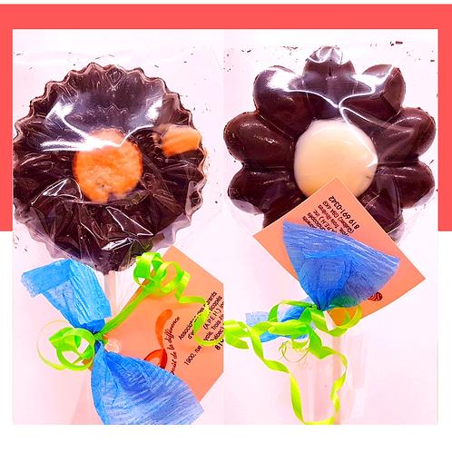 Sucette au chocolat noir (Fleur)