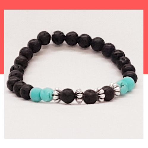 Bracelet de pierres de lave et turquoise