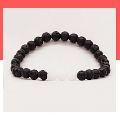Bracelet de pierres de lave et d'obsidienne
