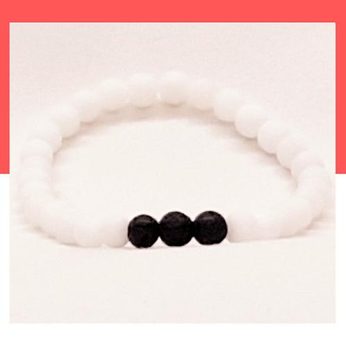 Bracelet d'obsidienne et de pierres de lave