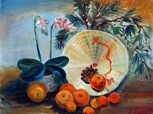 Натюрморт с апельсинами и вьетнамской шляпой.