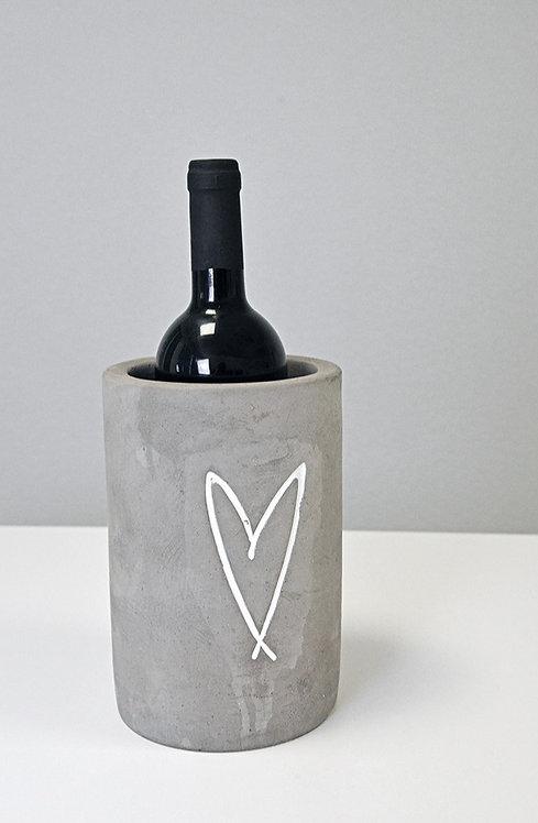 Weinkühler «Lou» Beton mit Herzprägung