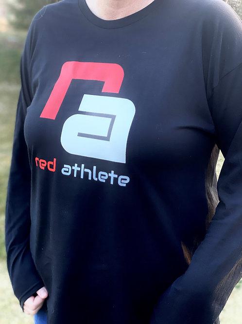 Red Athlete Long Sleeve Lifestyle T-Black