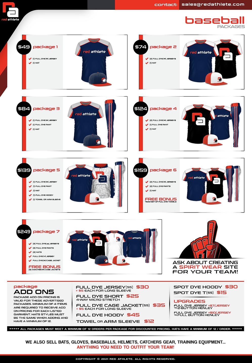 Baseball Uniform Package