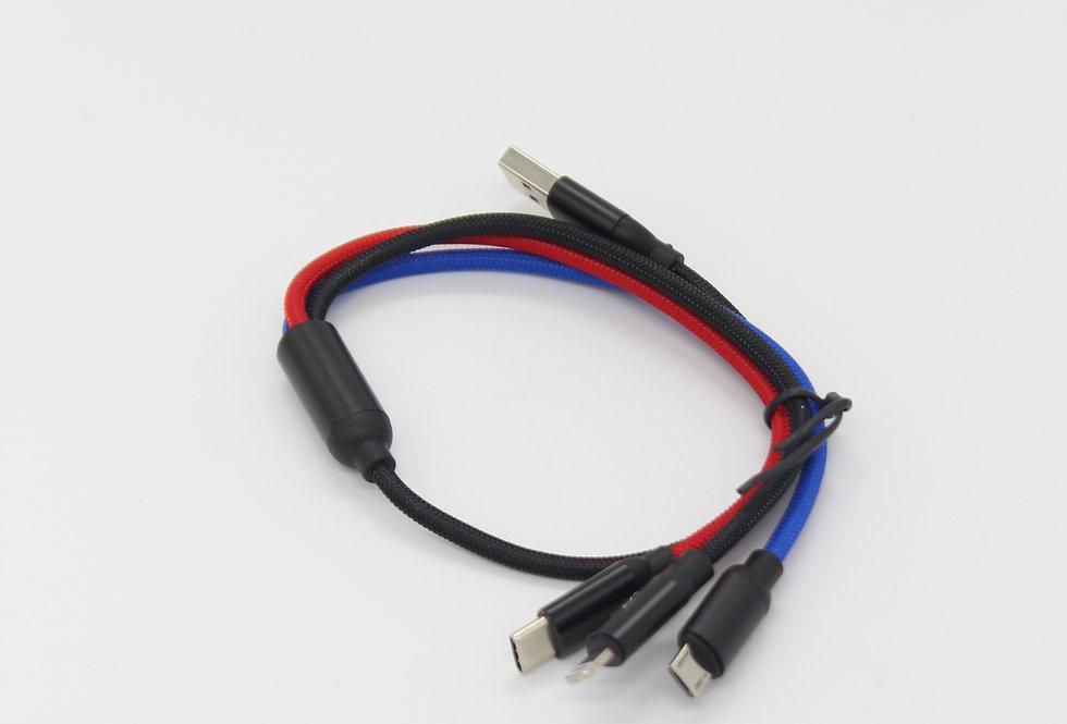 Кабель Baseus Three Primary Colors 3-in-1 Cable USB For Micro Lightning TypeC