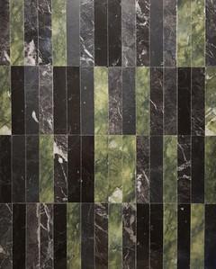 Marqueterie de marbres Verde Ming, Nero Marquina et Grigio Carnia.  crédit photo : Gaspard Mahieu