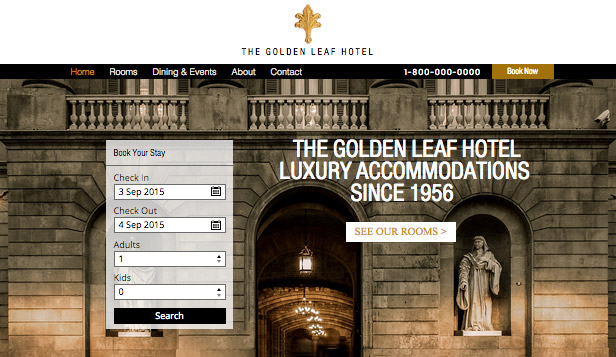 Hotels & Pensionen website templates –  Urbanes Luxushotel
