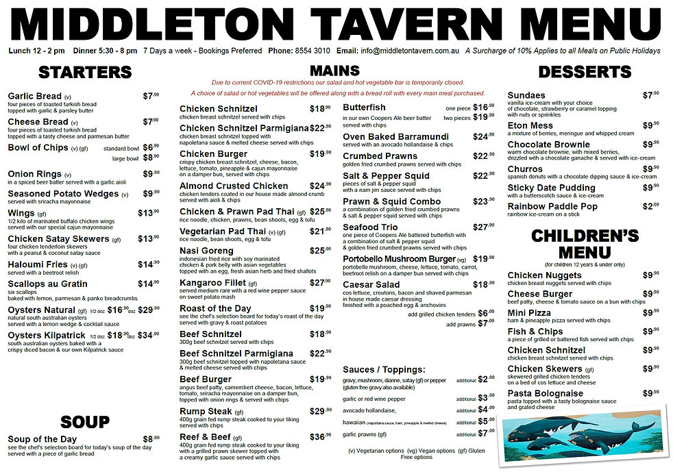 Middleton Tavern Menu 2020 covid update.