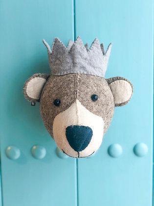Cabeza de oso gris con corona azul - Mini