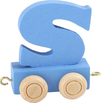 S (Azul) - Tren de letras