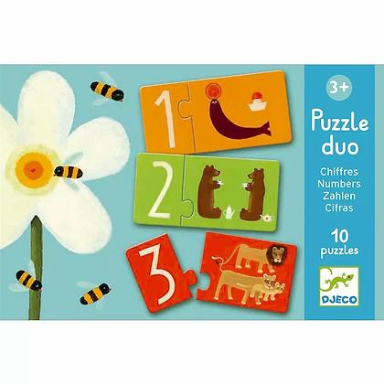 Djeco Puzzle Duo, Los Numeros - 10 Puzzles