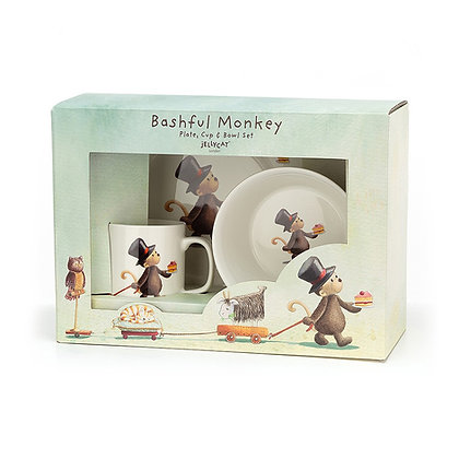 Jellycat Bashful Monkey conjunto de cuenco, taza y plato