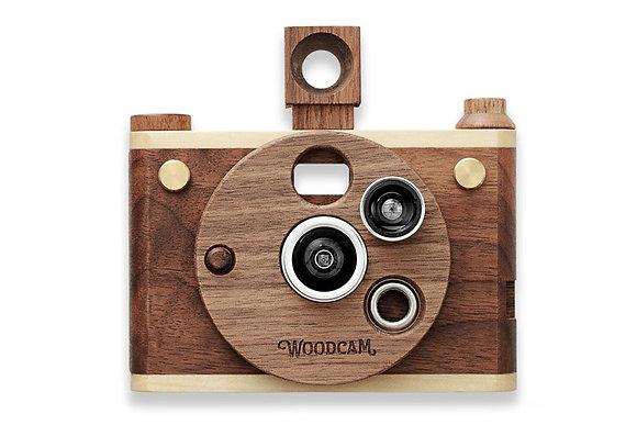 Cámara digital de madera con múltiples lentes