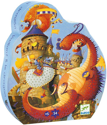 Djeco Silhouette Puzzle el caballero valiente y el dragón - 54 Piezas