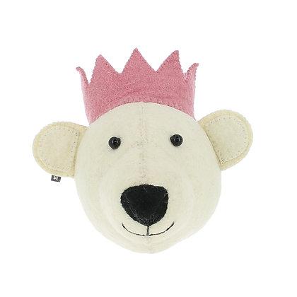 Cabeza de oso blanco con corona rosa - Mini