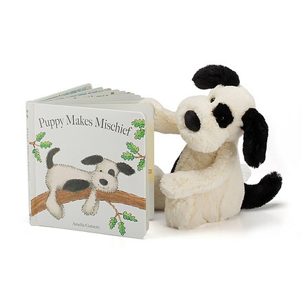 Regalo Conjunto: Jellycat Libro ´Puppy makes Mischief´& Bashful Cachorro