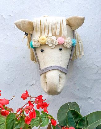Cabeza de caballo crema con brida - Grande