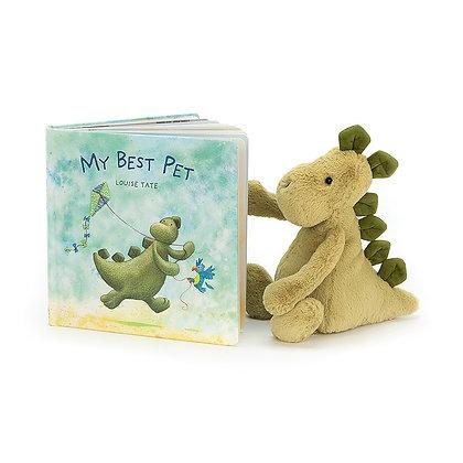 Conjunto Regalo: Jellycat Libro ´The Best Pet´& Peluche Bashful Dino